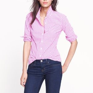 J. CREW Perfect Shirt Pink Gingham Button Down Top